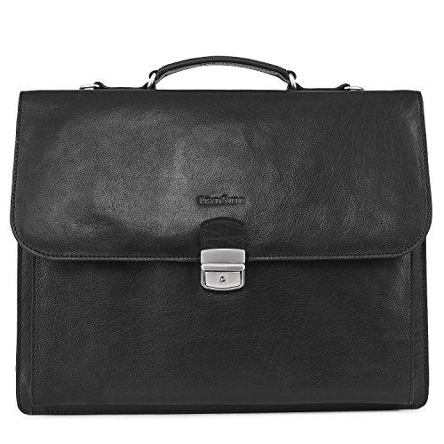 FEYNSINN Aktentasche Leder EMILIO XL groß Businesstasche Herren 15 Zoll Laptop Bürotasche Laptoptasche mit Extra-Abtrennung bis 15,4 Zoll echte Ledertasche Herrentasche schwarz