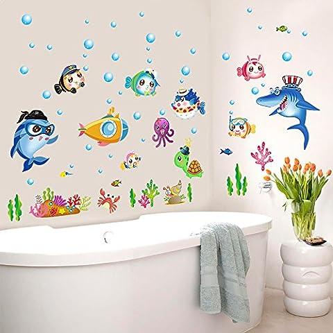Ecoye Mer Des Poissons Bulles Stickers Muraux Décoration Murale Autocollant mural Wallpaper Pour bébés salle de bain Salon des enfants