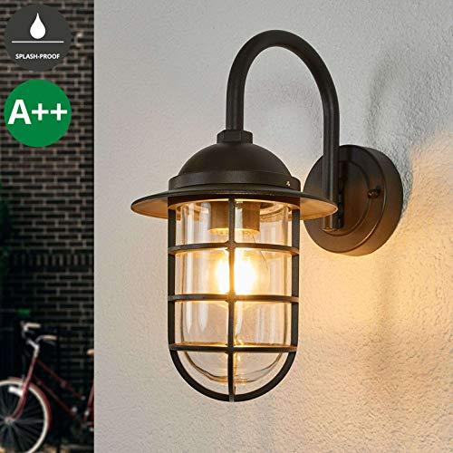 Lampenwelt Wandleuchte außen 'Naila' (spritzwassergeschützt) (Retro, Vintage, Antik) in Alu aus Aluminium (1 flammig, E27, A++) - Außenwandleuchten Wandlampe, Led Außenlampe, Outdoor Wandlampe für Lampe-haus