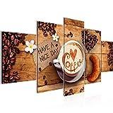 Bilder Küche Kaffee Wandbild Vlies - Leinwand Bild XXL Format Wandbilder Wohnzimmer Wohnung Deko Kunstdrucke Braun 5 Teilig -100% MADE IN GERMANY - Fertig zum Aufhängen 501252a