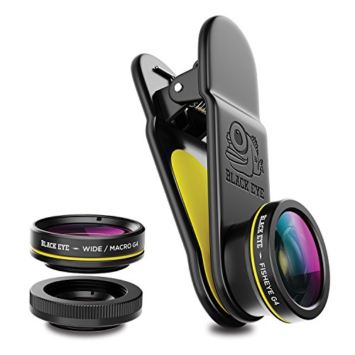 Black Eye 3- Pack G4 Kombo Pack bestehend aus Weitwinkel-, Makro- und Fischaugen-Objektiv (Universelle Clip-Befestigung, 155° Weitwinkel-, 20-fach Makro und 180° Fischaugen-Objektiv)