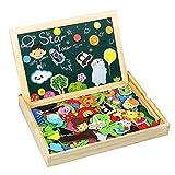 TONZE Puzzle Bois Tableau Ardoise Magnetique Jigsaw Puzzle Magnetique Noir et Blanc Jouet Graffiti Double Face Aimanté Jeux Educatif Puzzle Enfant 3 4 5 Ans 170 + pièces