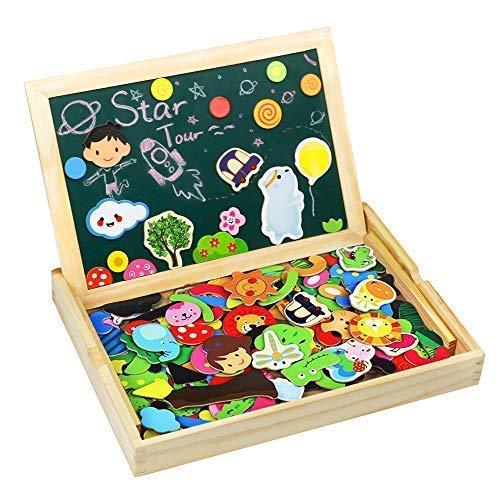 TONZE 175 Piezas Puzzles Pizarra Magnético Niños Caja Madera Rompecabezas Infantil Educativo Montessori Juguetes Puzzle Tablero de Dibujo de Doble Cara para Niños 3 4 5 6 Años