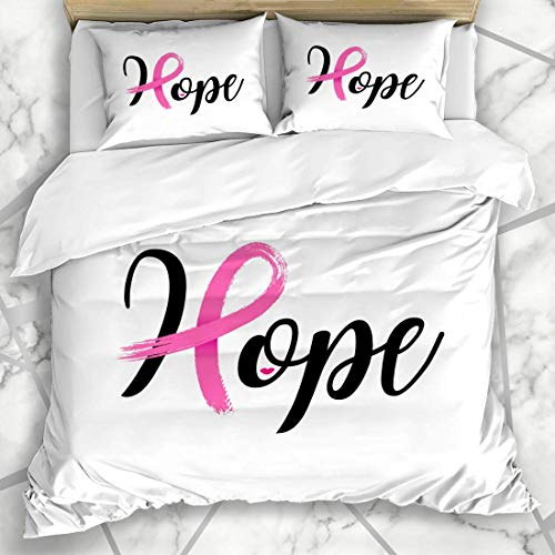 Soefipok Bettwäschesets Oktober Brust Hoffnung Schriftzug Pink Ribbon Brush Cancer Awareness Bow Kampagne Charity Design Power Mikrofaserbettwäsche mit 2 Kissenbezügen -