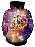 Bfustyle Witzige Männer-Pizza Cat Printed Grahphic Hoodie mit Taschen