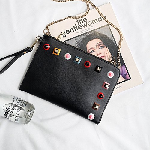 Weibliche handtasche farbe nagel Kette umschlag tasche Schulter messenger bag Schwarz