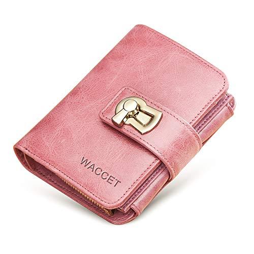 21e003b47 WACCET Carteras Piel Mujer Bloqueo RFID Monedero de Piel con Cremallera,  Billetera de Mujer con