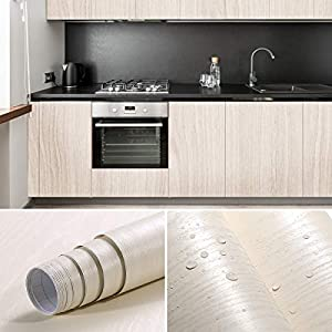 iKINLO Holztapete Selbstklebende Folie Wandtapete Naturholz Dekorfolie Möbelfolie 0.61 * 5M Tapeten Wandaufkleber aus hochwertigem PVC Beige