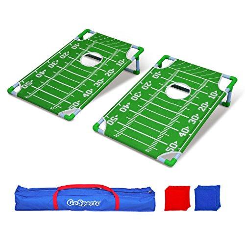 GoSports tragbar PVC gerahmt Cornhole Spiel Set mit 8Bean Bags und Tragetasche-wählen Sie Amerikanische Flagge Design, Fußball oder Classic rot & blau, Football (Toss Bag Bean Boards)