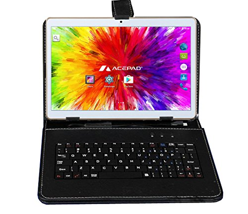 ACEPAD A96 10 Zoll (9.6″) Tablet PC 3G (Dual-SIM) 48GB Android 7.0 Nougat IPS HD 1280×800 Quad Core WIFI WLAN USB SD (Weiß mit Tastaturtasche)