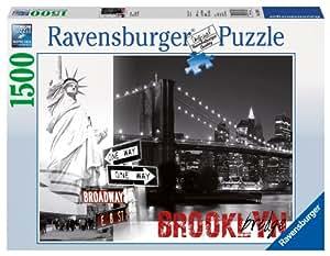 Puzzle 1500 pièces - Etats-Unis, New-York : Pont de Brooklyn et Statue de la Liberté