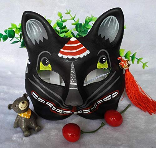Halloween Masks Adults Hand-Painted Japanese Kimono Black cat Fox mask Luxury Flower Moon Night Hand-Painted and Wind Antique Cosplay Sakura @Pulp Version _ Black Fox Demon 117