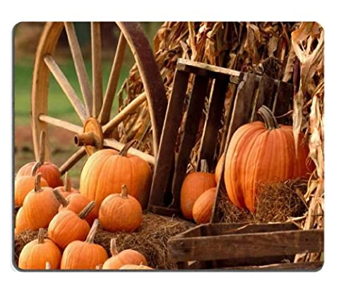 Nature Autumn Harvest Pumpkins Wooden Cart Mouse Pads Customized Made