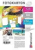 TATMOTIVE F01M125 Fotokarton Fotopapier 250g matt weiß/Laserdrucker/DIN A4 / Beidseitig bedruckbar / 125 Blatt