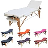 H-ROOT 3 Section léger Massage portative Table canapé lit socle thérapie Tatoo Salon Reiki guérison Massage suédois 13,5 KG (Crème)
