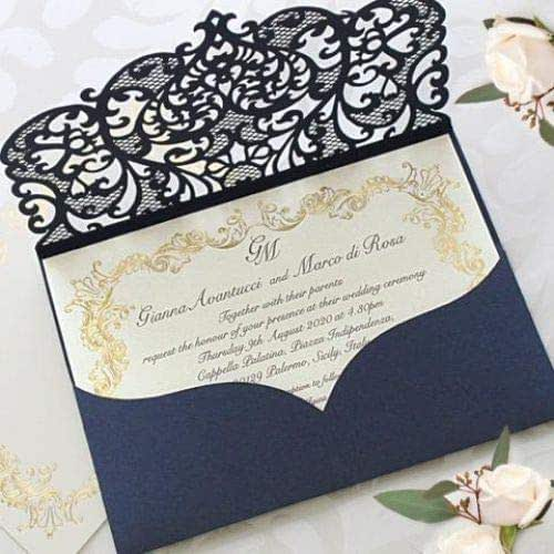 Elegant Invitation Cards Laser Cut Navy Blue Pocket Wedding