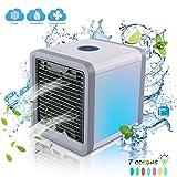 Mini Fan Ventilatore per Condizionatore Portatile, Raffreddatore d'Aria USB 3 in 1 Ventilatore per Condizionatore Portatile, Purificatore 7 Colori Luce Notturna A LED