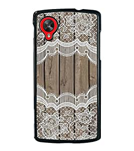 PrintVisa Designer Back Case Cover for LG Nexus 5 :: LG Google Nexus 5 :: Google Nexus 5 (Wood Pattern With Lace Borders)