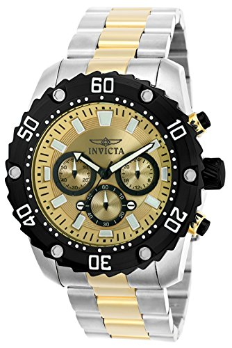 Invicta 22519 Pro Diver Men's Wrist Watch Stainless Steel Quartz Gold Dial