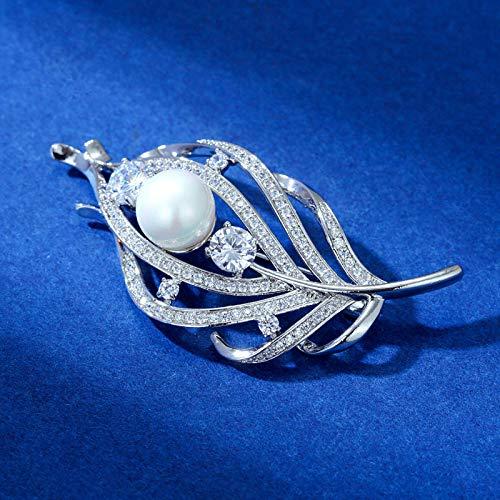 Lnyy Brosche künstliche Perle Brosche Blatt Styling Kostüm Brosche Schal Dornschließe ältesten (Art Deco Kostüm Schmuck)