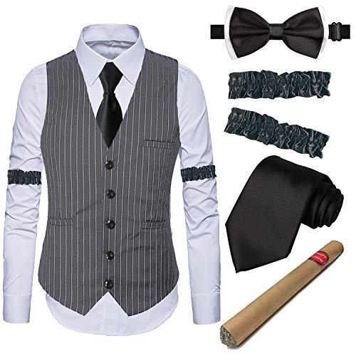 EFORLED Gatsby-Kostüm-Zubehör für Herren, 1920er-Jahre, Gangster-Streifen-Weste, weiß, Kleid, Hemd & Armbänder, Spielzeug falsche Zigarre, Krawatte, Vorbinden - Grau - X-Groß
