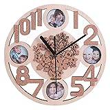 Giftgarden Wanduhr Holz Küche Whonzimmer Deko Uhr Wand Bilderrahmen Fotorahmen Blumen Familie Design modern schön ausgefallen elegant Geschenk Freund