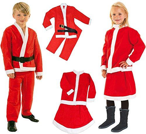 alles-meine.de GmbH 5 TLG. Kostüm Weihnachtsmann & Weihnachtsfrau - 6 bis 8 Jahre - Gr. 122 - 140 - Karneval / Weihnachten / Nikolauskostüm / Nikolaus - Hose + Jacke + Gürtel - f..