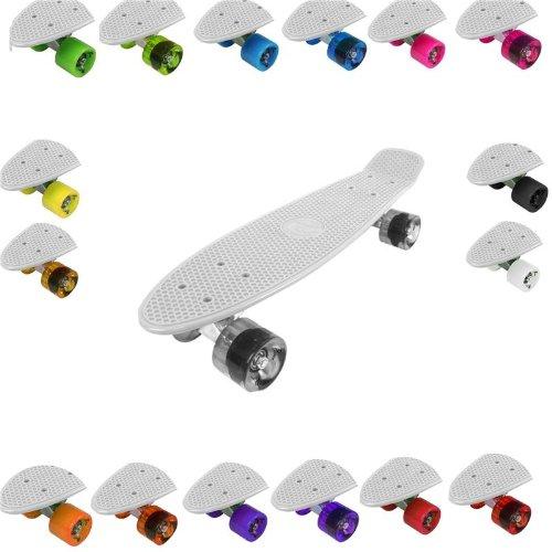 Retro Cruiser Plastik Skateboard 55,9x 15,2cm erhältlich in verschiedenen Deck Farben und transparent Rad Farben Mehrfarbig WHITE DECK + CLEAR TRANSPARENT WHEELS