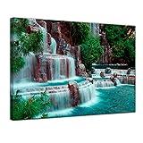 Kunstdruck - Wasserfall vor dem Wynn Hotel - Las Vegas - Bild auf Leinwand - 80 x 60 cm - Leinwandbilder - Bilder als Leinwanddruck - Landschaften - Amerika - USA - Kleiner Wasserlauf