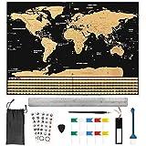 BUZIFU Mapa Mundi Rascar(82.5 x 59.4cm) con 18 Accesorios, Rasca Los Países/Islas/Ciudades...