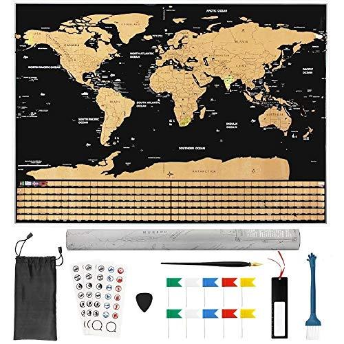 BUZIFU Mapa Mundi Rascar82.5 x 59.4cm 18 Accesorios