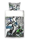 beties Motocross Graffiti Jugend Wende Bettwäsche 155x220 und 80x80 cm Motorrad Druck Feinste Baumwolle Graphit-weiß