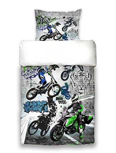 beties Motocross Graffiti Ragazzi Biancheria da letto 155X 220e 80x 80cm Frecce Stampa finissimo cotone bianco in grafite