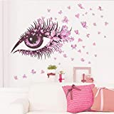 Oyedens Beautiful Girls Eye Pink Butterfly Decor Living Room Sofa TV Background Wall Stickers