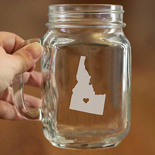State Mason Jar Laser geätzt Hometown Design Personalisierte Mason Jar Becher Glas Tasse 16Oz Vintage Mason Gläser D ¨ ¦ cor mit Griffen für Trinken