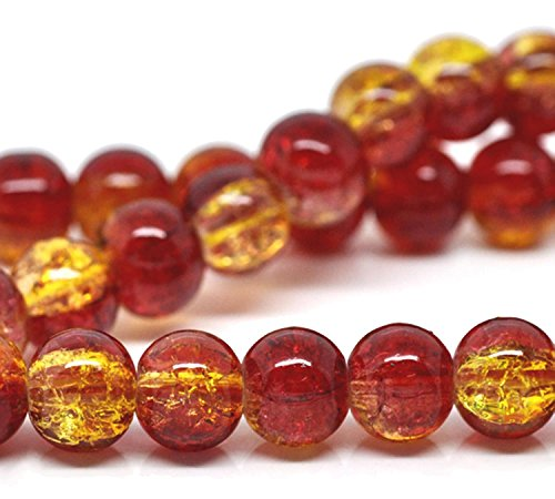 Charm Buddy 100 x Red & Yellow Glass Crackle Beads8mm
