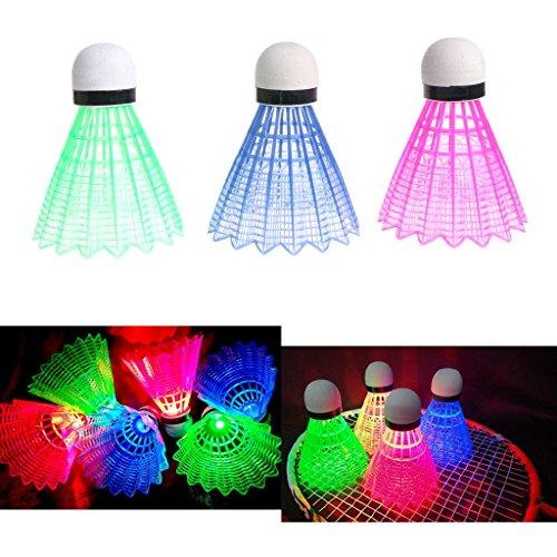ng Light up Kunststoff Badminton Federbälle Bunt Beleuchtung Bälle für Sport Aktivitäten, Red Blue Green Mixed Colors ()