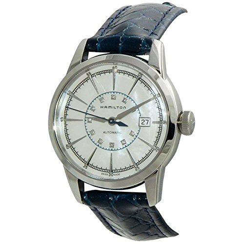 HAMILTON WOMEN'S 32MM BLUE LEATHER BAND STEEL CASE AUTOMATIC WATCH H40405691