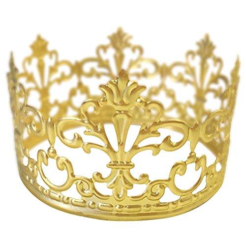 BESTONZON Party Kuchen Dekoration Krone Haarreif Diadem Tiara Krone Haar Ornaments Hochzeit Supplies Zubehör (Gold)