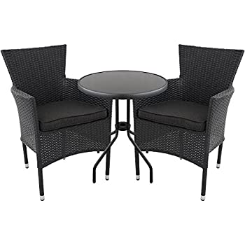 3er set gartengarnitur gartenm bel glastisch 60cm poly rattan sessel rattansessel. Black Bedroom Furniture Sets. Home Design Ideas