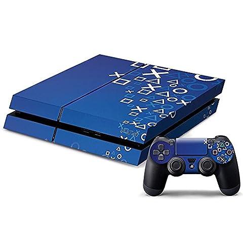 DOTBUY PS4 Skin Aufkleber Sticker Design Folie schützende Haut Schale für Sony Playstation 4 Konsole und 2 Dualshock Controller (XO Blue)