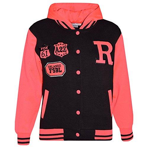 A2Z 4 Kids® Jungen Mädchen Mode Fox NYC Baseball Mit Kapuze Jacke - B.B Black & Neon Pink 9-10 -