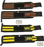 Fasce per allenamento 1 paio (2 fasce), per palestra, polsiera in cotone, per uomo e donna, di prima qualità, con Pro Rubber (2 Pairs/4 Wraps Orange & Yellow, 13' or 33cm)
