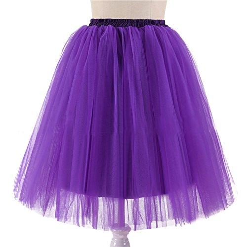 Kostüm Barbie Rocker (Honeystore Damen's 5 Layer Knielanger Rock Elastic Bund Tutu Prinzessin Tütü Tutu Petticoat Ballettrock One Size)