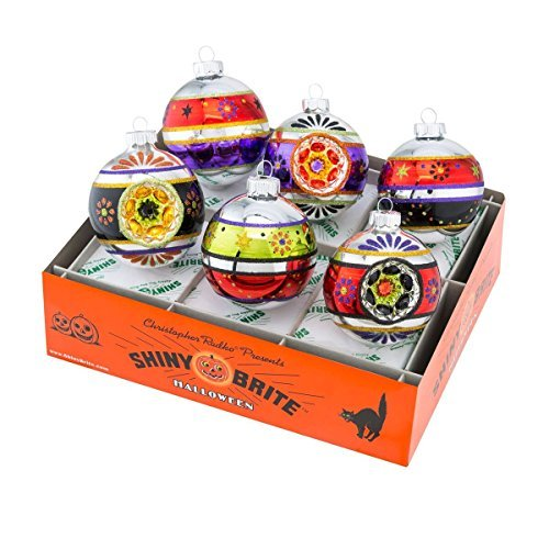 Shiny Brite Halloween Decorated Rounds with Reflectors Ornaments - Set of Six by Shiny Brite