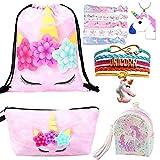 5 Paquete Lindo Unicornio Mochila con cordón/Maquillaje/PU Monedero Bolsos de Embrague/Collar de Cadena de aleación/Unicornios para el Cabello para niñas (Style 3)