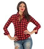Fashion4Young 5829 Taillierte Damen Langarm Bluse Karobluse Damenbluse Hemdbluse Stretch Bluse kariert (L=40, rot-schwarz)