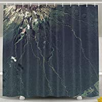 Setyserytu Shower Curtain with Hooks Earthview New Zealand Green Illustration Art Dark Funny Shower Curtain 60x72inch