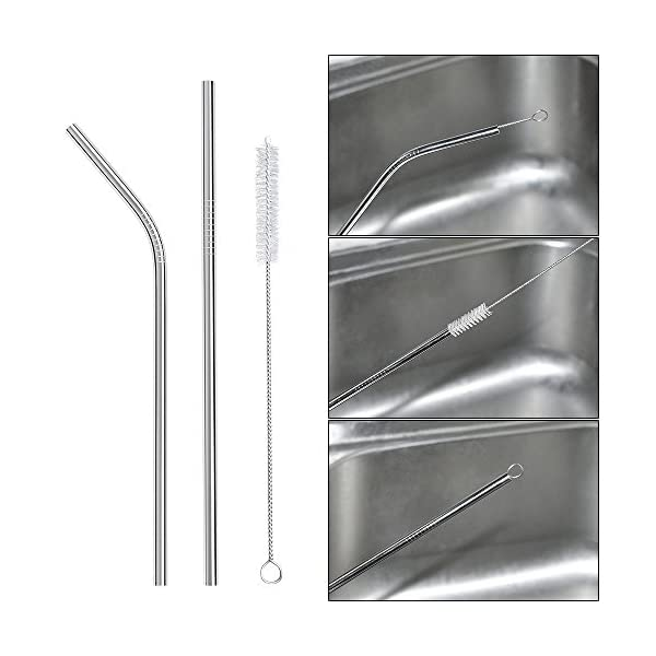 Ouway Stainless Steel Straws Reusable 8 Set, Metal Drinking Straws with 2 Cleaning Brush for Smoothie, Milkshake…