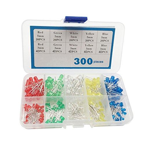 300 kit diodi led bluexp 3mm 5mm led diodo ad emissione luminosa rotondo usato per componenti elettronici regalo decorativo progetto diy